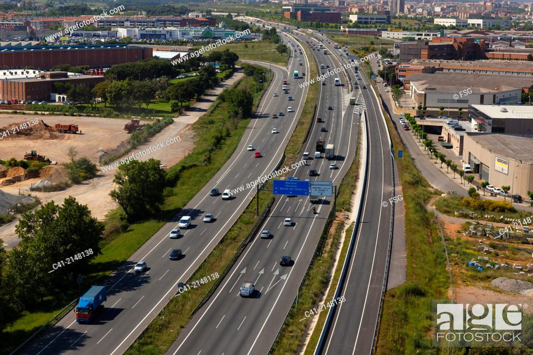 Stock Photo: C-58 highway. Sabadell, Spain.