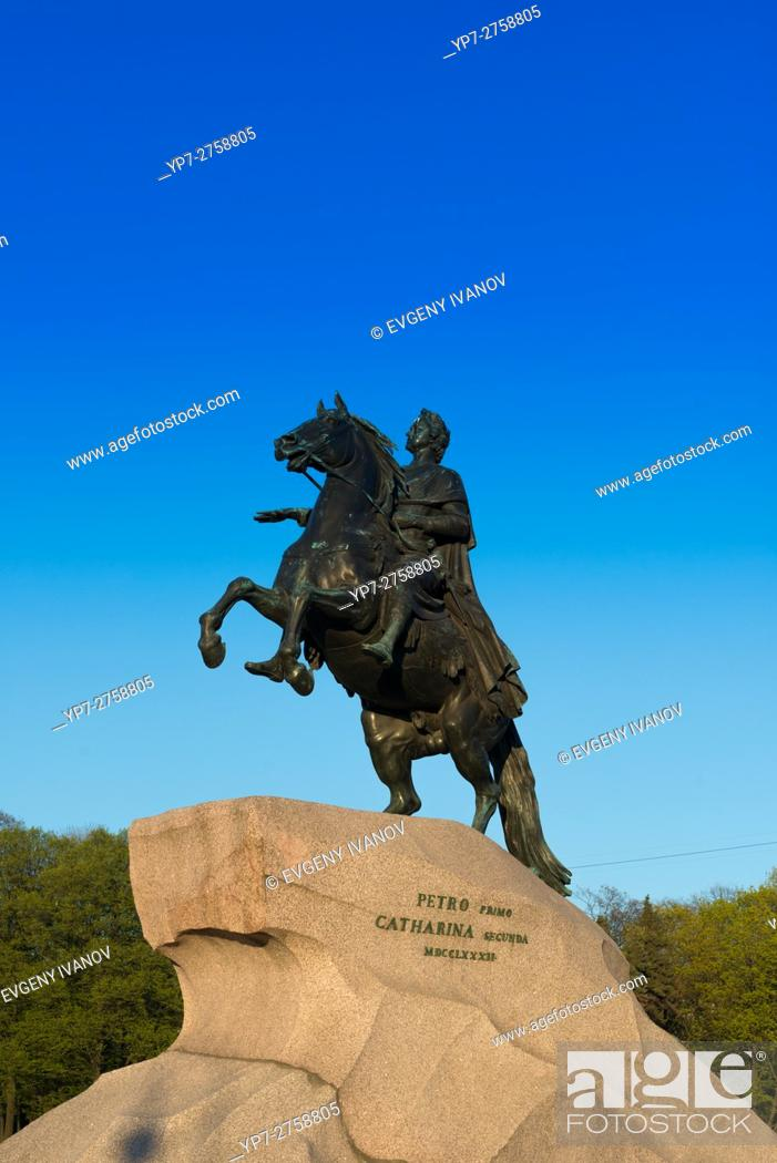 """Stock Photo: The Bronze Horseman â. """" The Monument To Emperor Peter The Great, St Petersburg."""