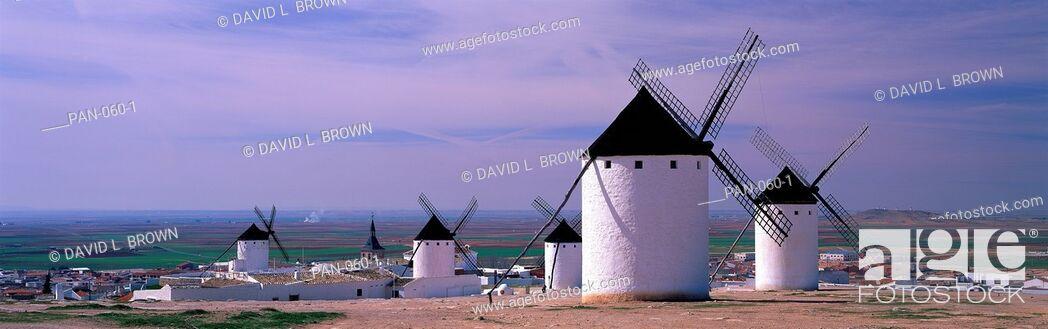 Stock Photo: Windmills, LaMancha, Spain.