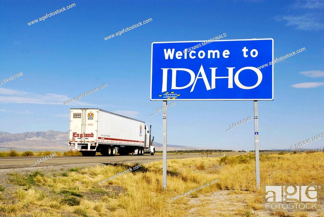 Stock Photo: Welcome to Idaho Interstate 80 freeway sign as drivers enter the state, USA.