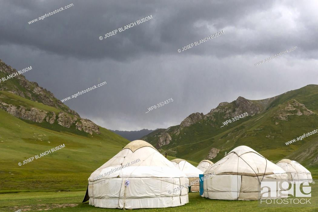 Stock Photo: Yurts in Tash Rabat valley, Naryn province, Kyrgyzstan.