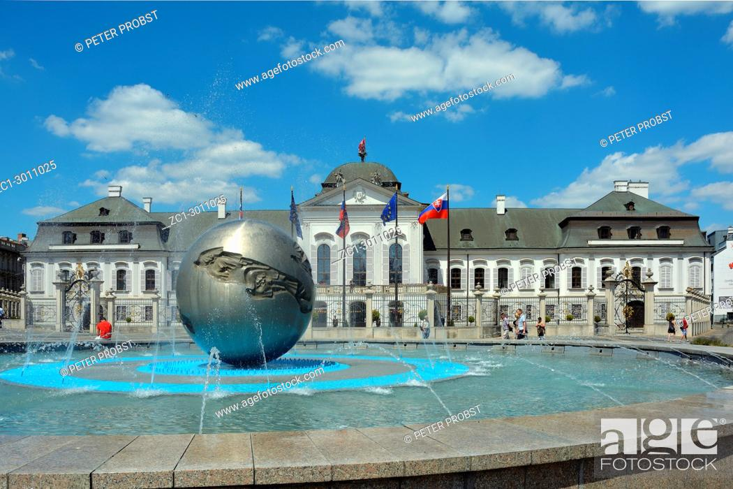 Stock Photo: Grassalkovich Palace with the Monument Worldglobe in Bratislava - official residence of the Slovak President.