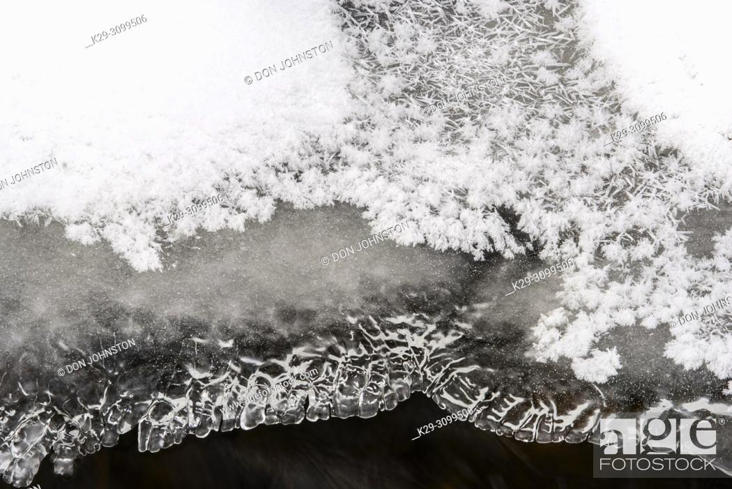 Stock Photo: Ice formations and running water in Costello Creek in winter, Algonquin Provincial Park, Ontario, Canada.