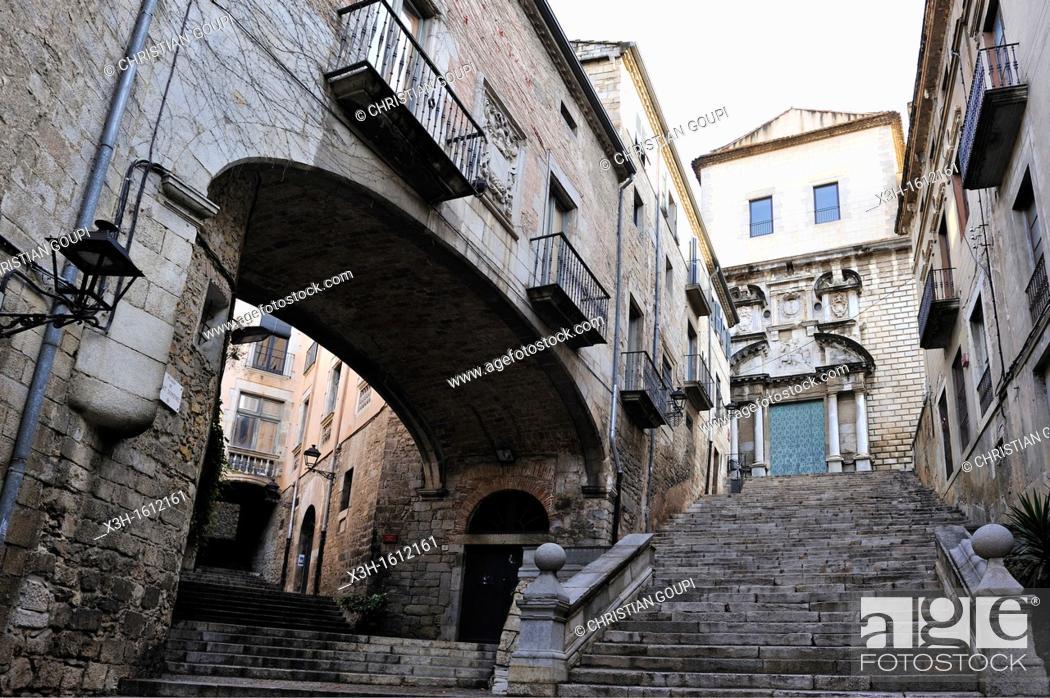 Stock Photo: Sant Domenec Sidestepping leading to the Sant Marti Sacosta church Girona, Autonomous community of Catalonia, Spain, Europe.