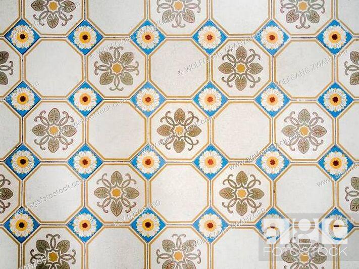 Stock Photo: antique mosiac floor background.