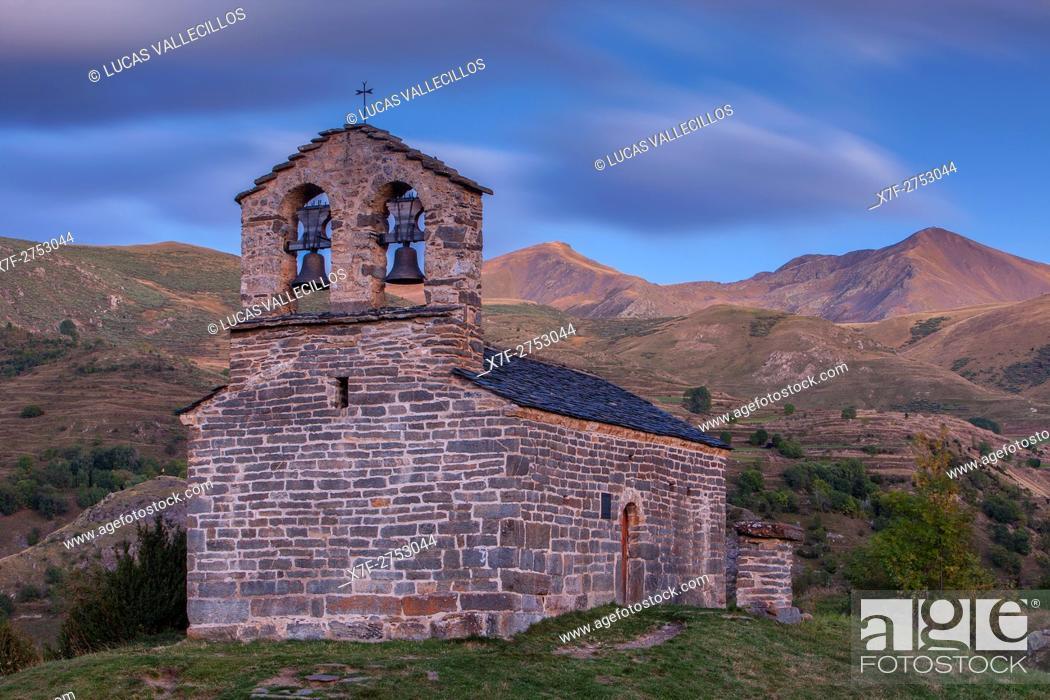 Stock Photo: Sant Quirç hermitage. Romanesque chapel. Durro. Boí valley. Lleida province. Catalonia. Spain.
