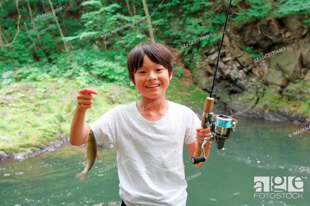 Stock Photo: Children fishing.