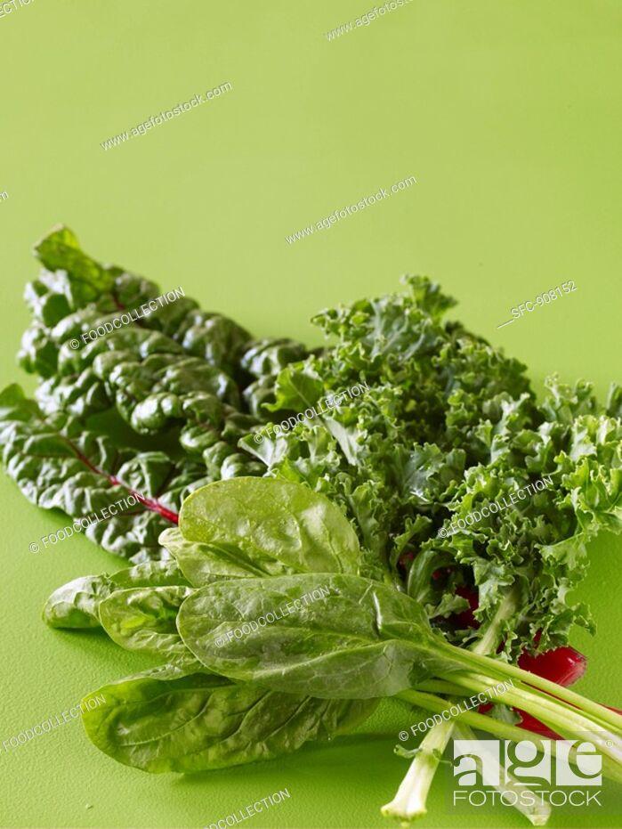 Stock Photo: Mixed Fresh Greens.