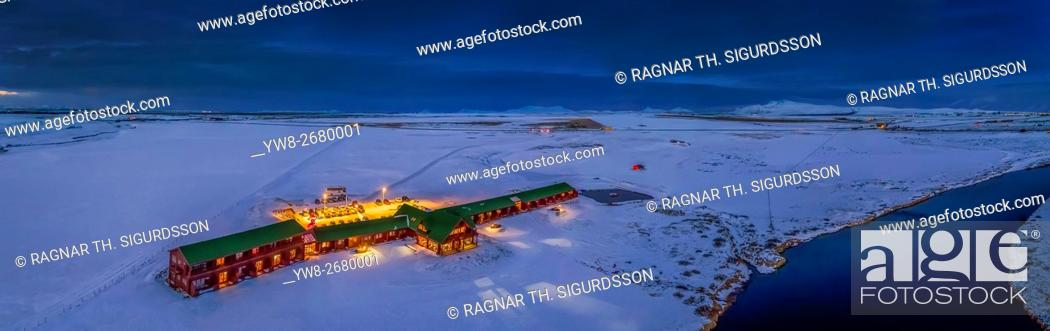 Stock Photo: Aerial view of Hotel Ranga in the winter, Iceland. This image is shot using a drone.