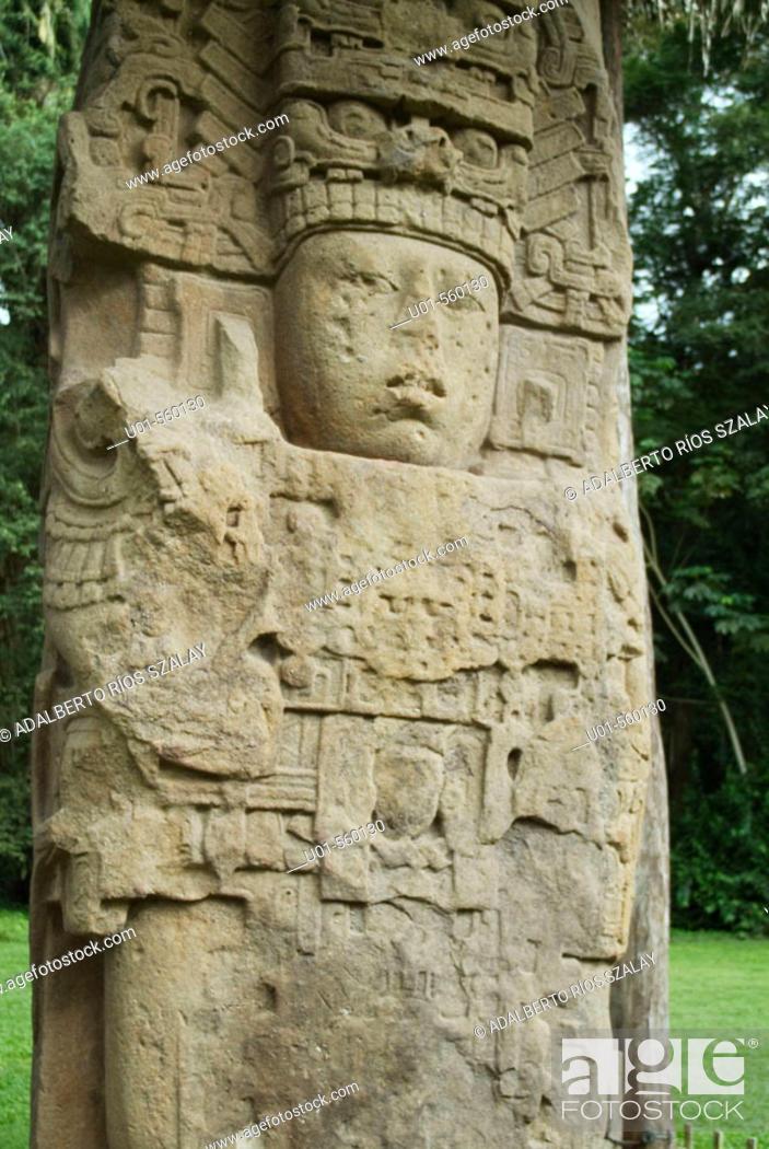 Stock Photo: Stele of Mayan Dignitary, Quirigua Guatemala.
