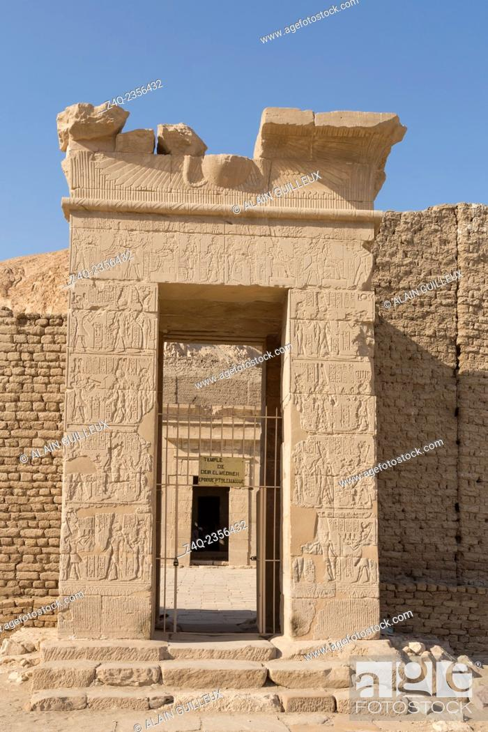 Stock Photo: UNESCO World Heritage, Thebes in Egypt, ptolemaic temple of Deir el Medineh. First gate.