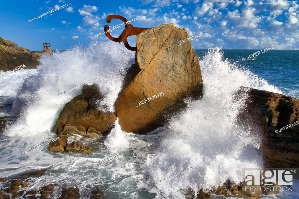 """Stock Photo: """"Peine del Viento †, Eduardo Chillida, Donostia, San Sebastian, Gipuzkoa, Basque Country, Spain."""