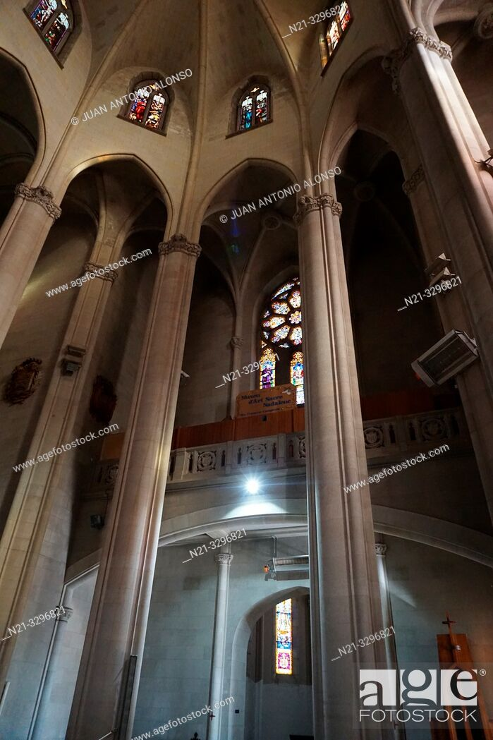 Stock Photo: The Sacred Heart of Jesus Church. Tibidabo Mountain, Collserola mountain range, Barcelona, Catalonia, Spain, Europe.