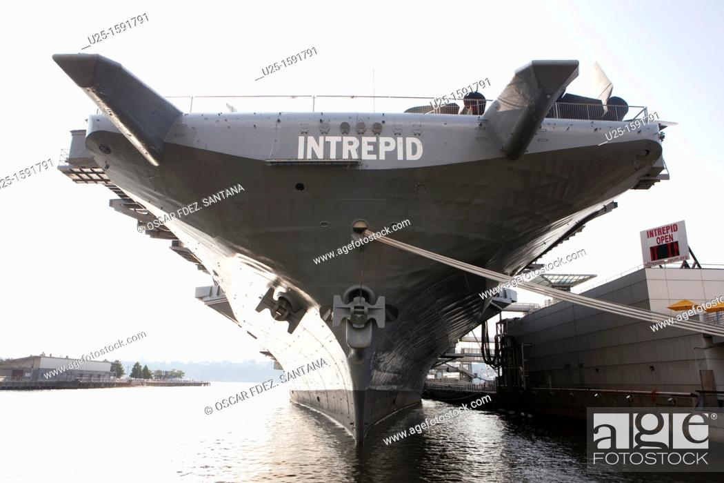 Stock Photo: Intrepid Sea, Air and Space Museum military and maritime history museum, 12th Avenue, New York City, USA.