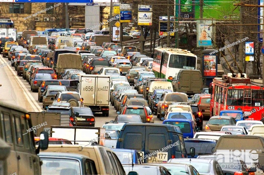 Stock Photo: Traffic, Arbatskaya, Moscow, Russian Federation.