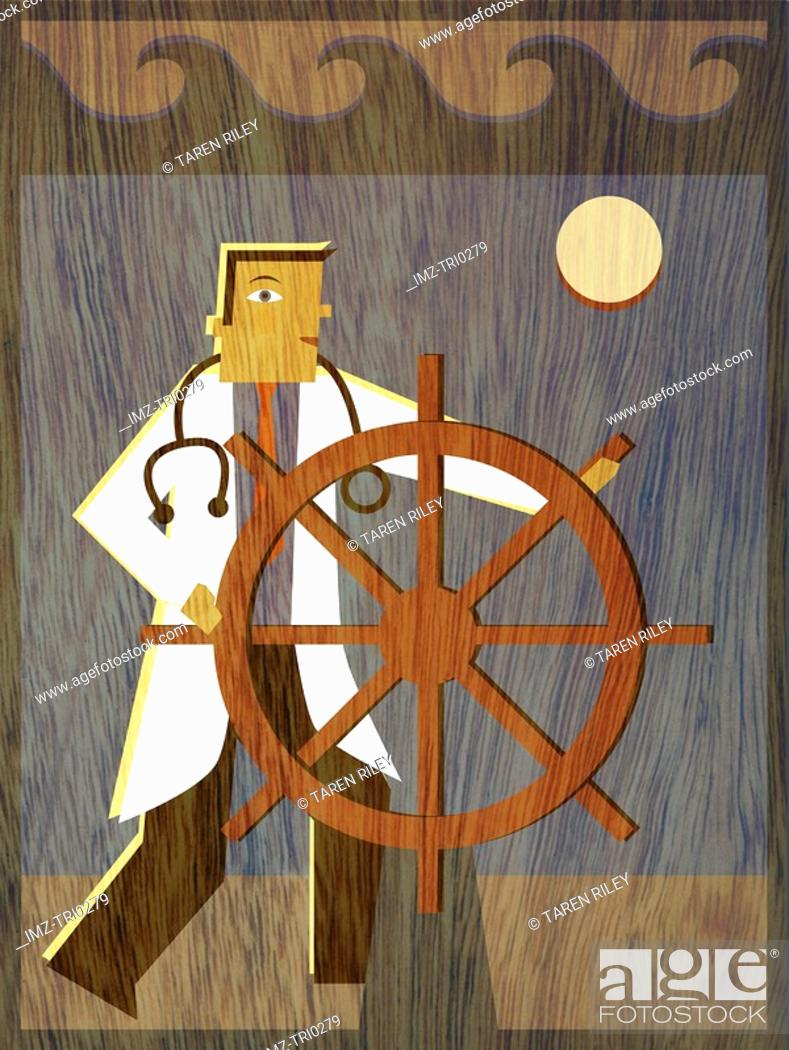 Stock Photo: A physician steering a ship.