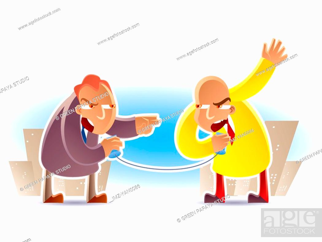 Stock Photo: A graphic representation of a battle of politicians.
