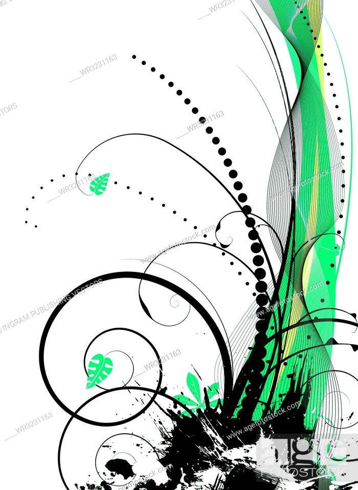 Vector: abstract illustration with a natural theme using leaves and green hues.