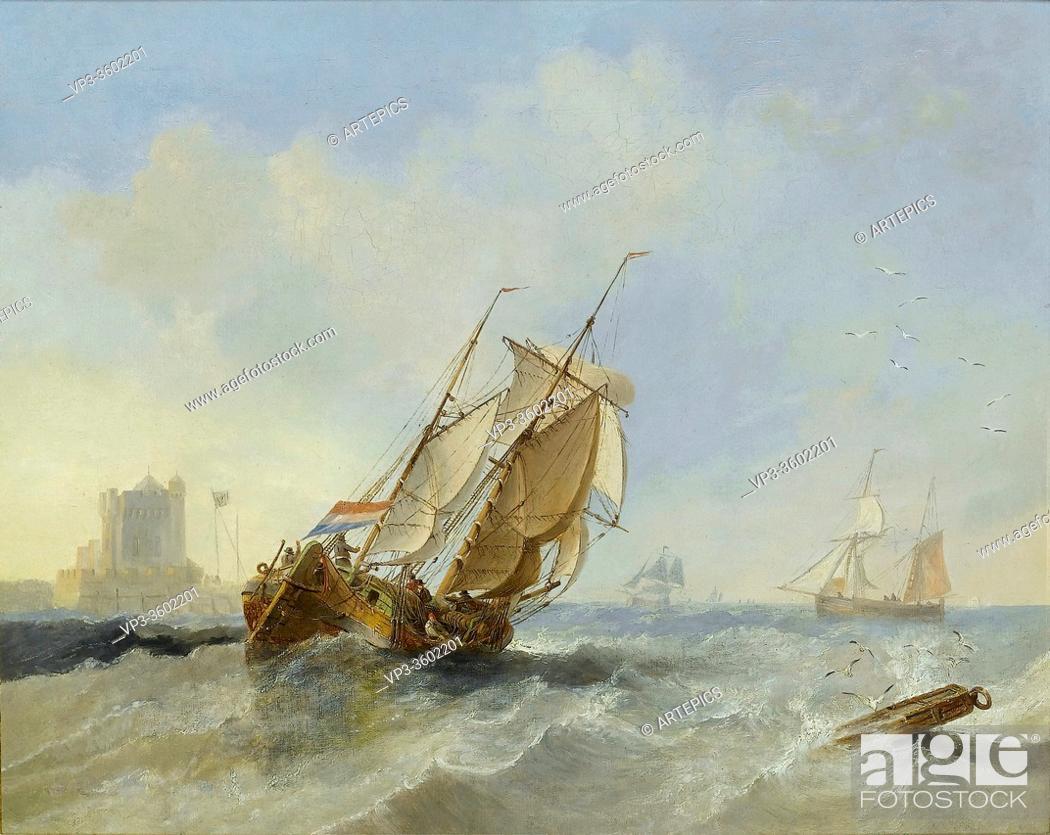 Stock Photo: Carmichael John Wilson - Shipping in a Stiff Breeze Offshore near Vlissingen - British School - 19th Century.