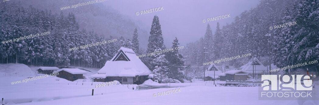 Stock Photo: Snow-covered Houses, near Keihoku, Kyoto, Japan.