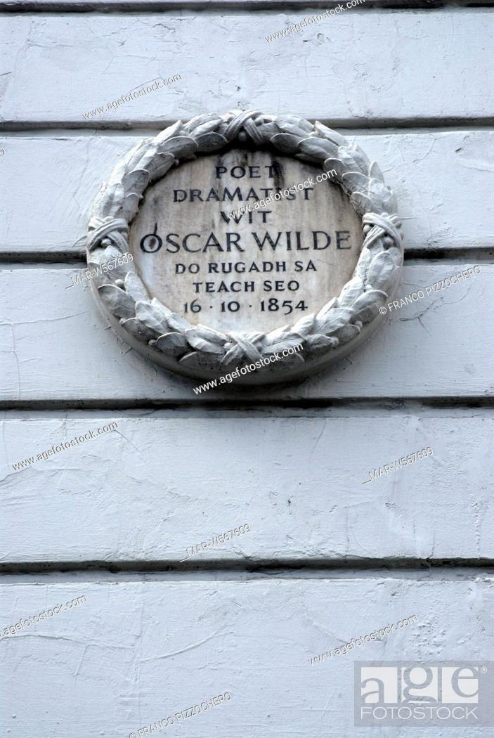 Stock Photo: house of Oscar Wilde, dublin, ireland.