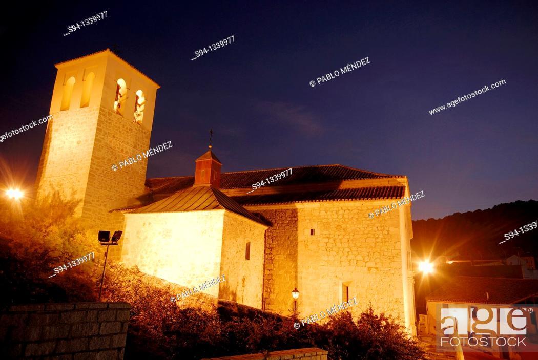 Stock Photo: Church of Nuestra Señora de la Asunción in Villalbilla, Madrid, Spain.