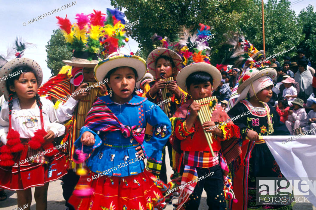 Stock Photo: Children group. Oruro carnival. Oruro was a ceremonial centre from prehispanic times. In Paria, the first city in Bolivia founded by Spanish.