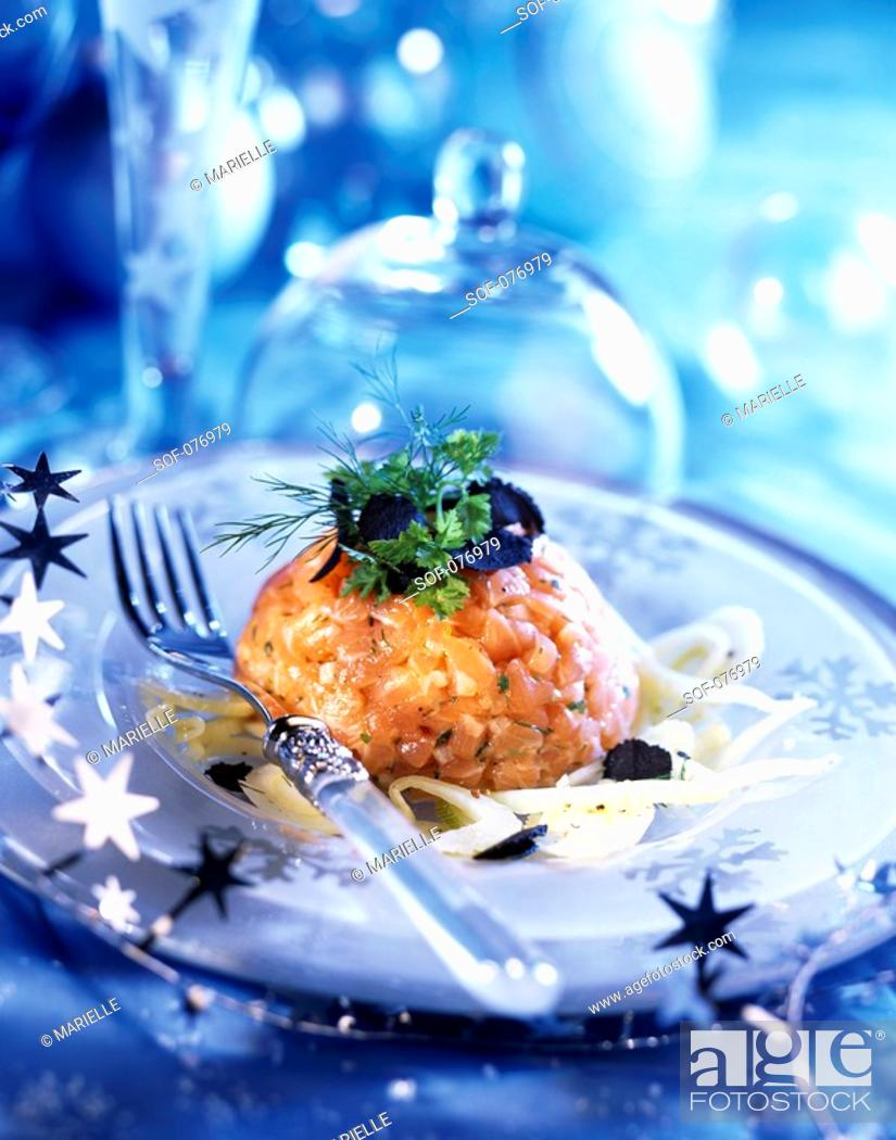 Stock Photo: salmon tartare with truffle and shredded fennel.