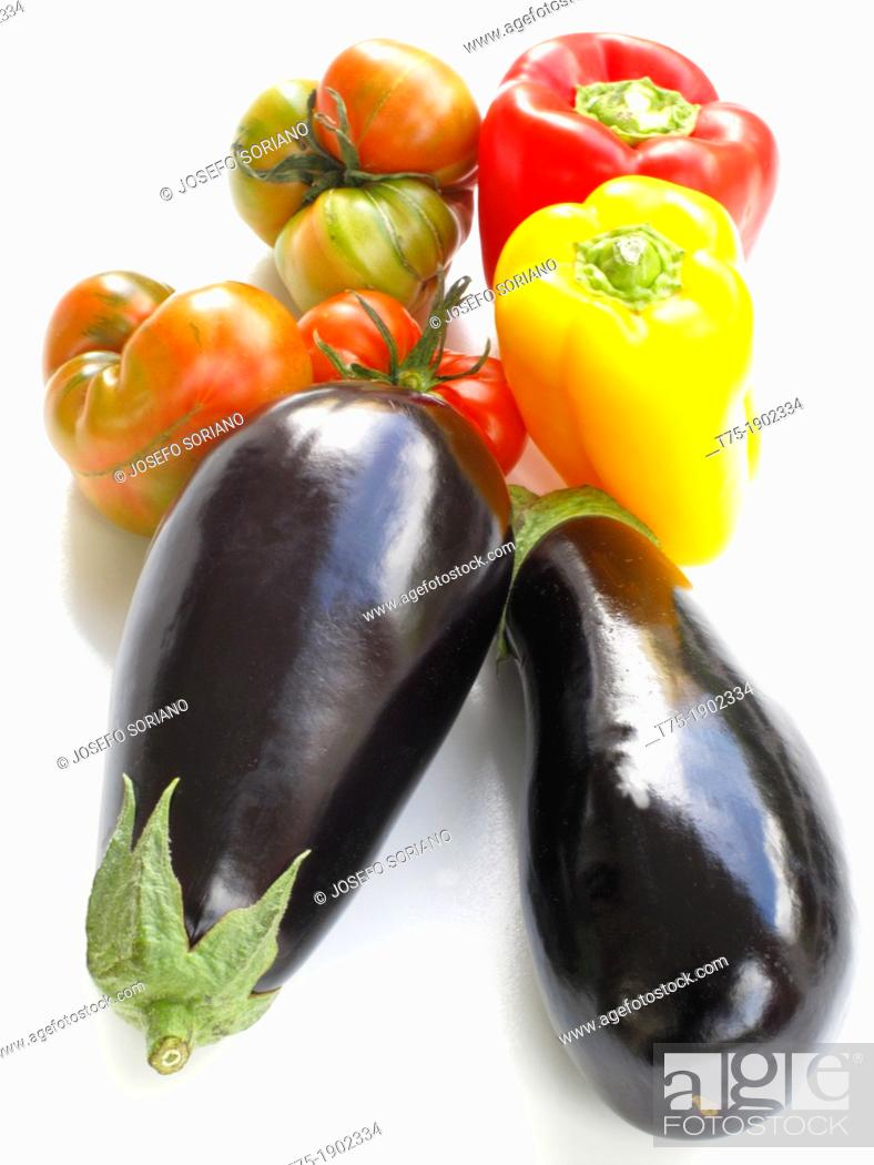 Stock Photo: Aubergines, tomatoes and peppers.