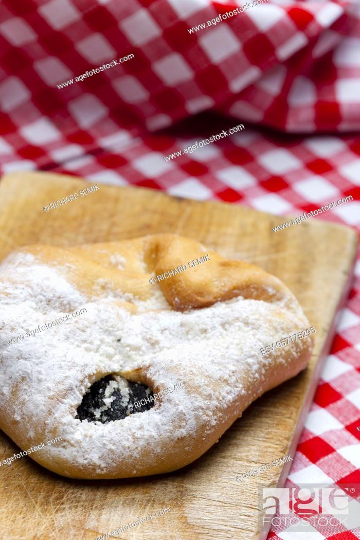 Stock Photo: traditional czech cakes on burnt spruce wood.