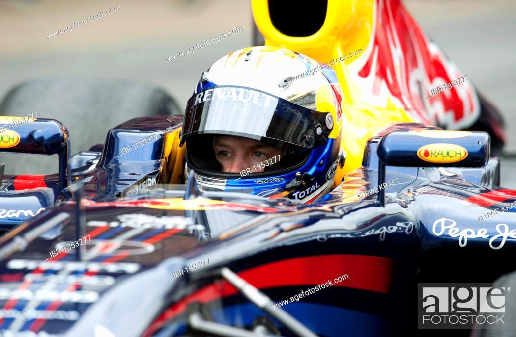 09010df1 Stock Photo - German driver Sebastian Vettel driving his Red Bull Racing-Renault  RB7 car, motor sports, Formula 1 testing at the Circuit de Catalunya, ...