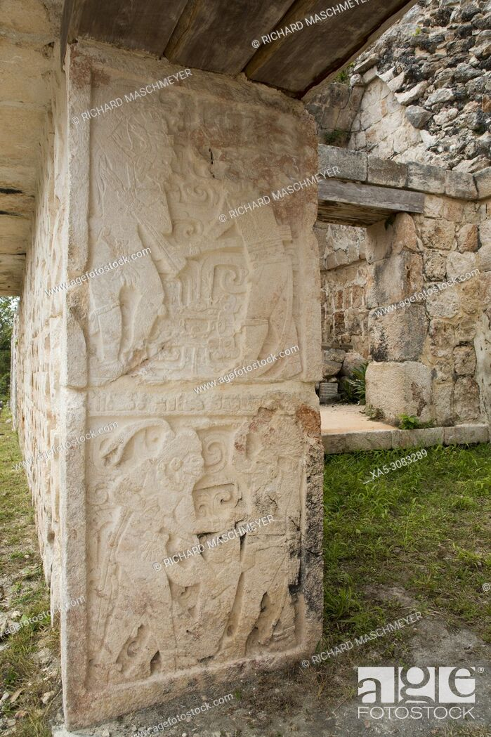 Imagen: Carved Stone Relief, Palace of the Masks (Codz Poop), Kabah Archaeological Site, Mayan Ruins, Puuc Style, Yucatan, Mexico.