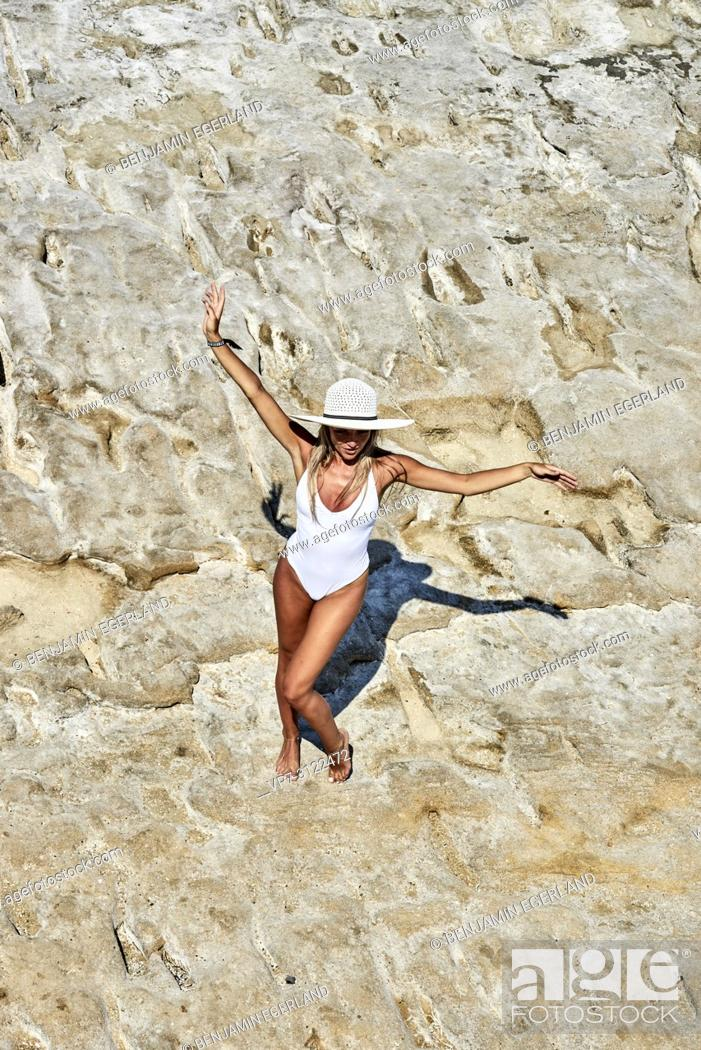 Stock Photo: Young woman. Chersonissos, Crete, Greece.