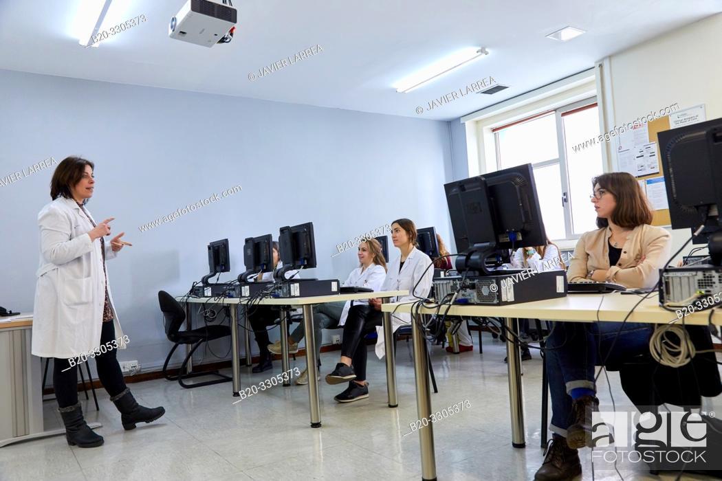 Stock Photo: Computer training course for health professional, Library, Hospital Donostia, San Sebastian, Gipuzkoa, Basque Country, Spain.
