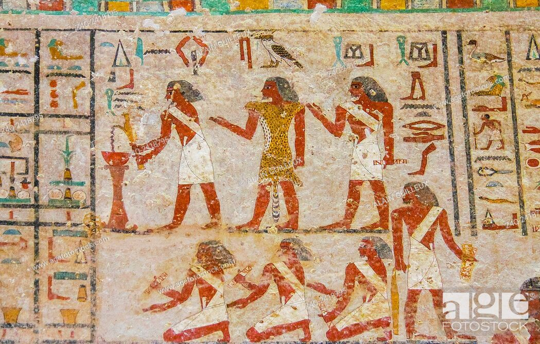 Stock Photo: Middle Egypt, Beni Hasan, the tomb of Khnumhotep II dates from the Middle Kingdom. Religious rites.