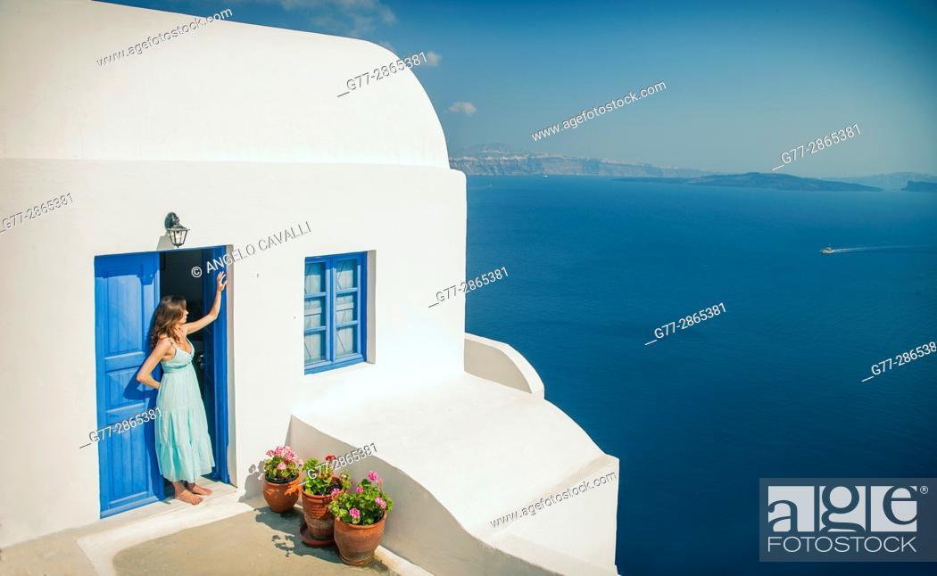 Photo de stock: Woman, Santorini, Cyclades, Greece.
