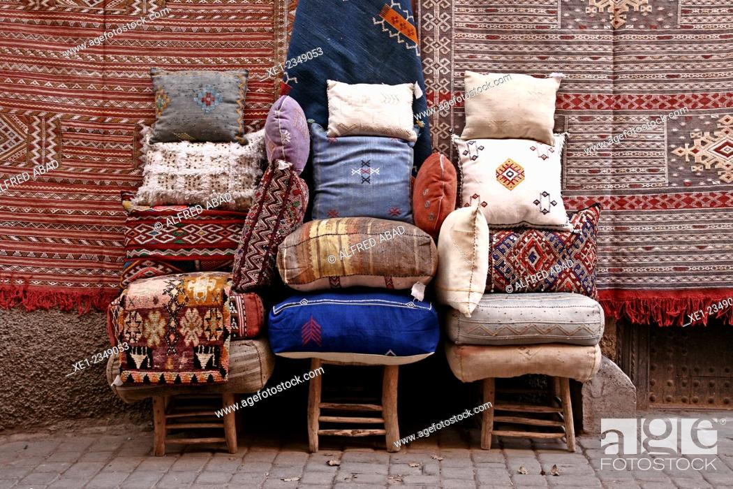 Stock Photo: Cushions and carpets, Marrakech, Morocco.