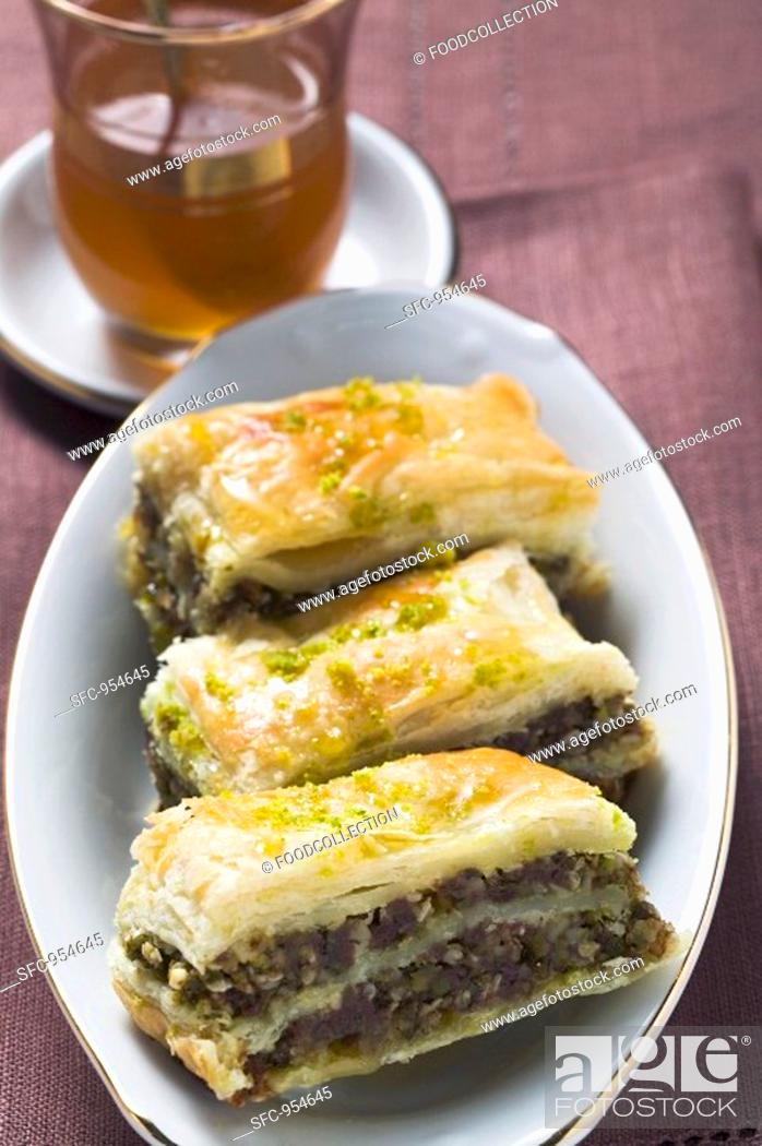 Stock Photo: Baklava Filo pastry with honey & pistachios, Turkey, mint tea.