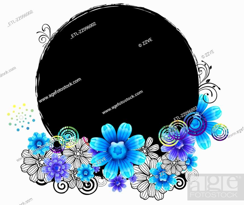 Stock Photo: Oval Shape with flora design.