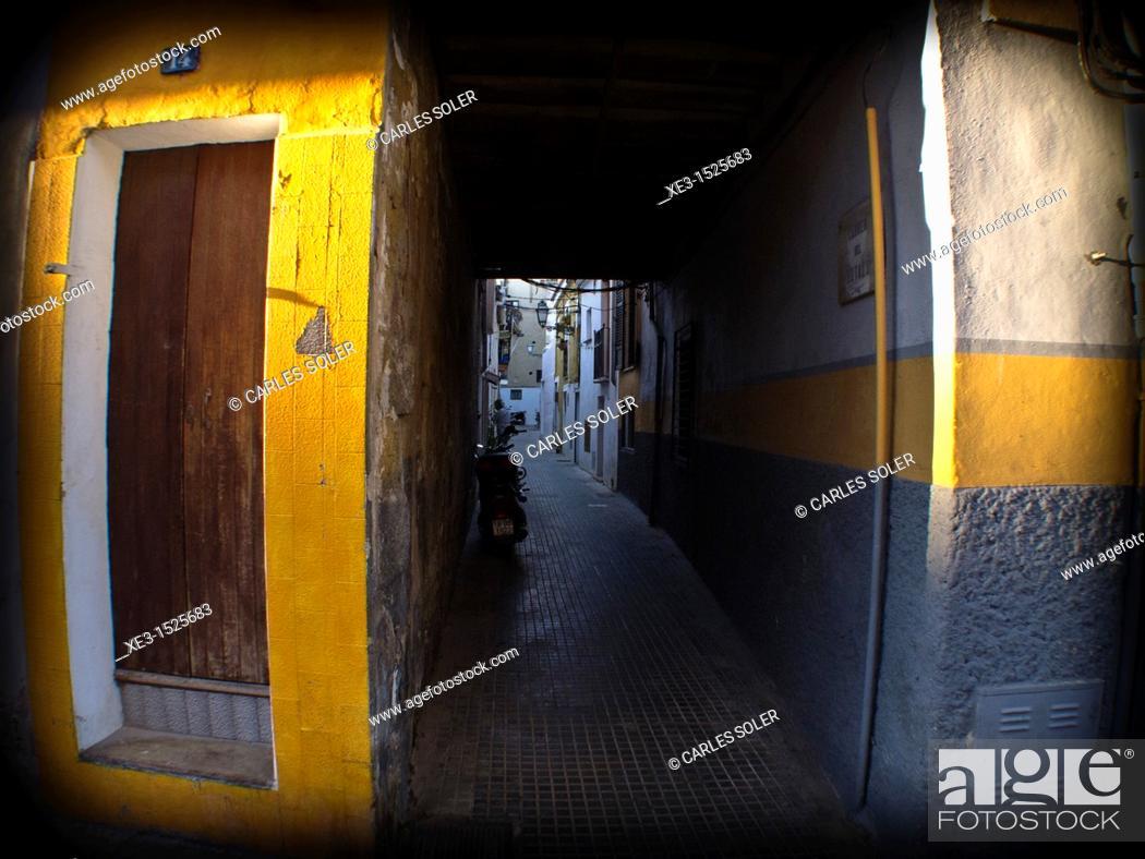 Stock Photo: Old buildings, Palma, Spain.