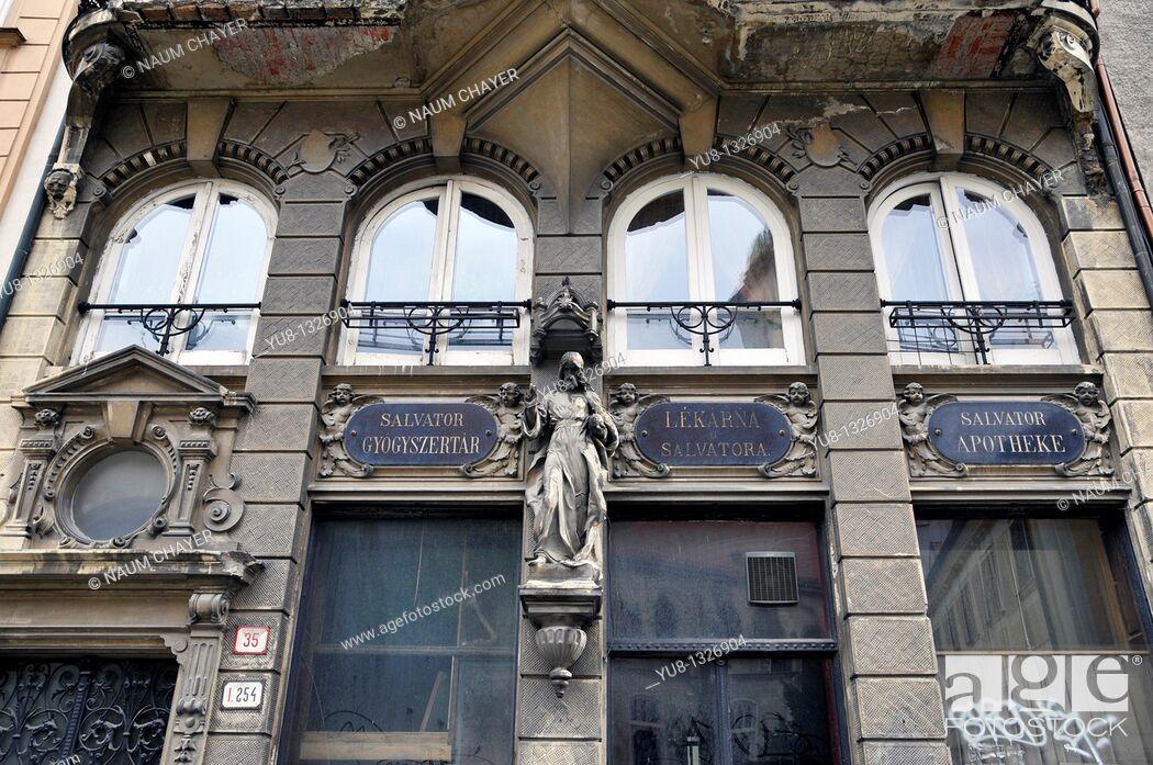 Stock Photo: Abandoned Salvator pharmacy, Bratislava, Slovakia, Europe.