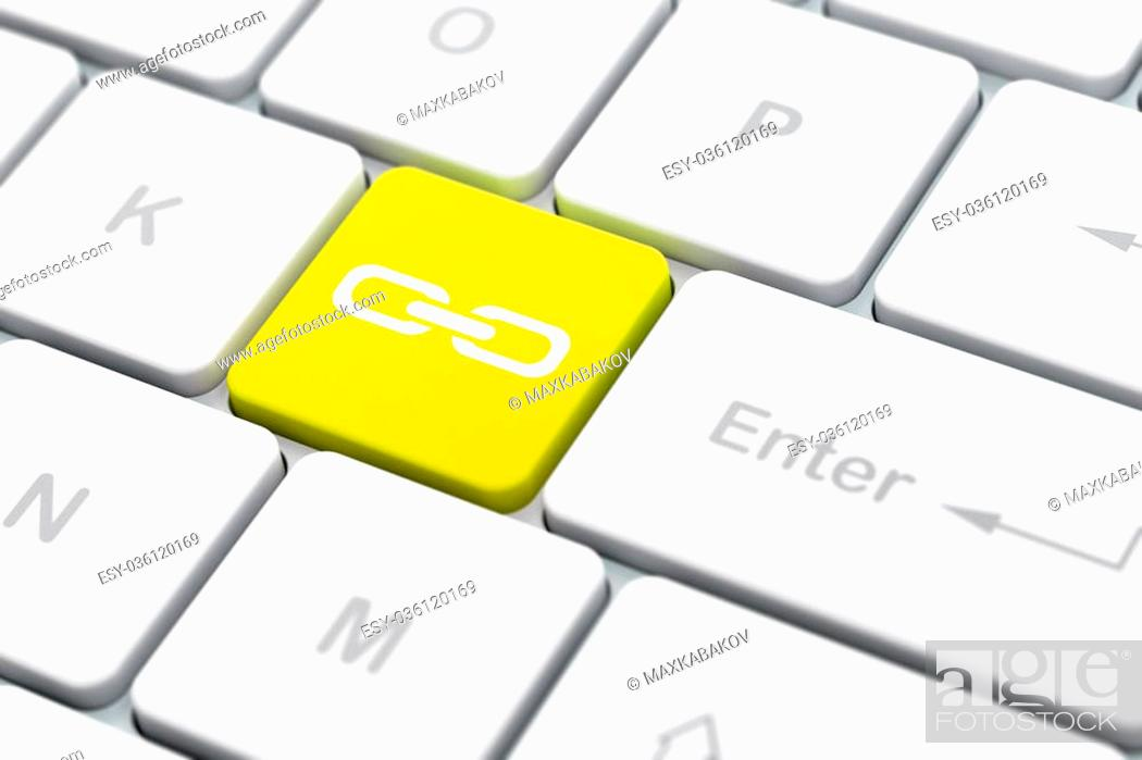 Stock Photo: Web design concept: computer keyboard with Link icon on enter button background, selected focus, 3D rendering.