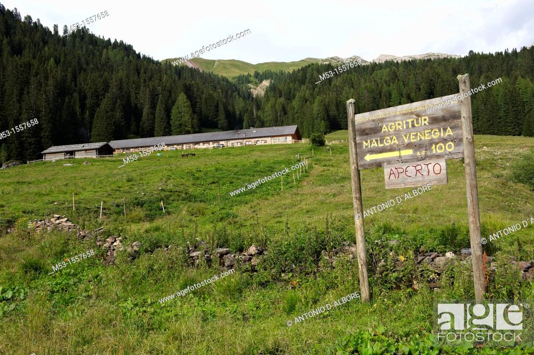Stock Photo: The welcome sign of Malga Venegia Farm Holiday, a touristic country structure located in Vanegia Valley within the Natural Park Paneveggio - Pale di San Martino.