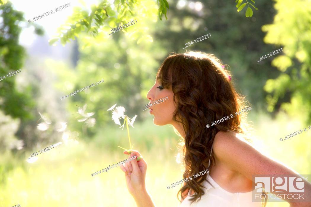 Stock Photo: A beautiful young caucasian woman outdoors in Spokane, Washington, USA.