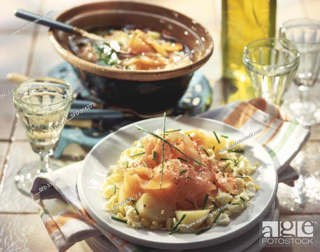 Stock Photo: Potato salad with smoked salmon and boiled egg Not available in FR.