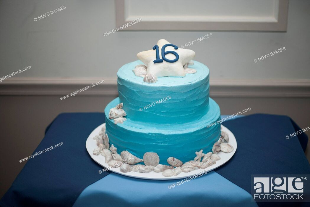 Imagen: Sweet 16 Double-Tiered Birthday Cake with Light Blue Frosting.