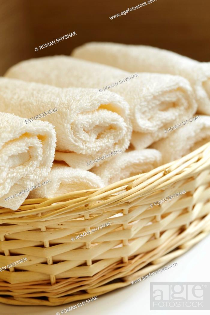 Stock Photo: basket of pure white towels.