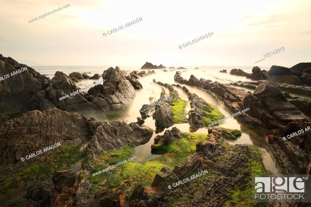 Stock Photo: Beach of Barrika, Basque Country, Spain.