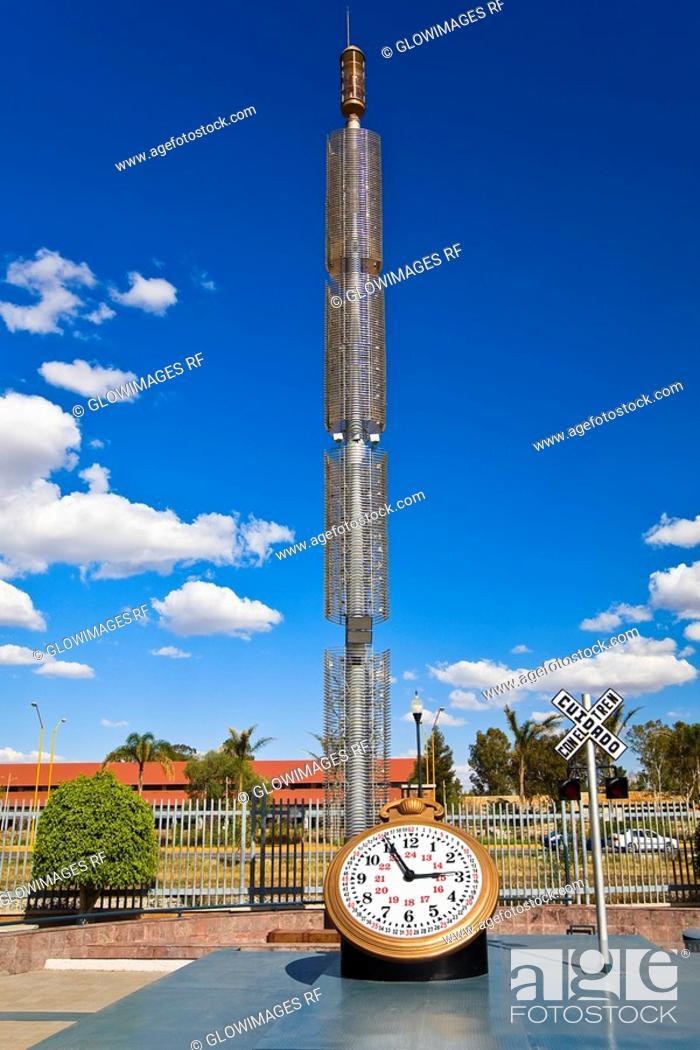 Stock Photo: Clock in a park, Three Centuries Memorial Park, Aguascalientes, Mexico.