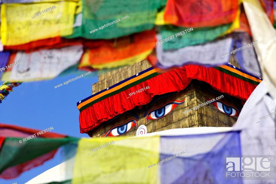 Stock Photo: Buddhist stupa and prayer flags at Bodhnath, Kathmandu, Nepal.
